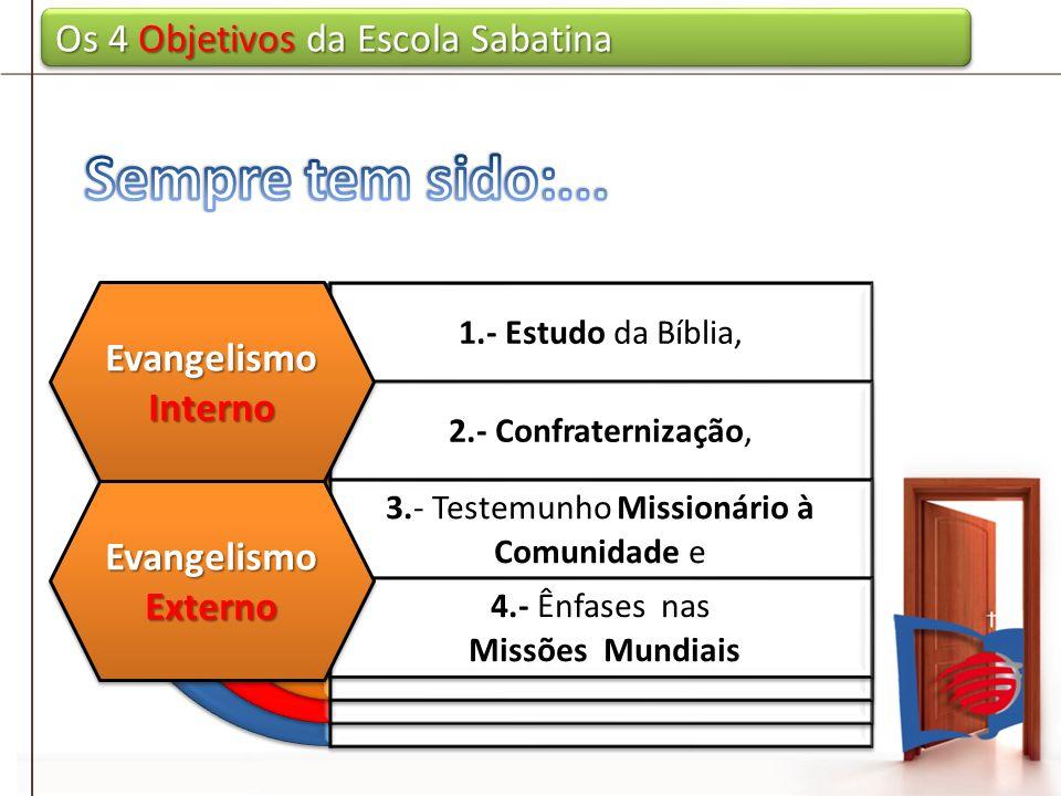 Os 4 Objetivos da Escola Sabatina 1.- Estudo da Bíblia, 2.- Confraternização, 3.- Testemunho Missionário à Comunidade e 4.- Ênfases nas Missões Mundia