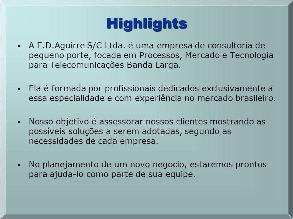 A E.D.Aguirre S/C Ltda. é uma empresa de consultoria de pequeno porte, focada em Processos, Mercado e Tecnologia para Telecomunicações Banda Larga. El