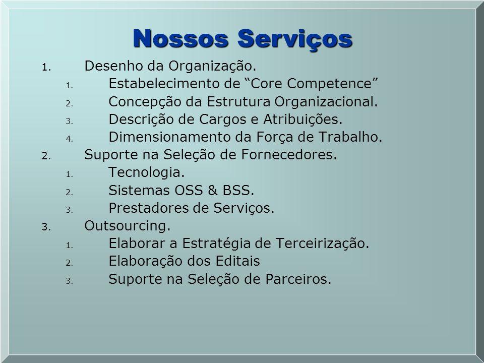 1. 1. Desenho da Organização. 1. 1. Estabelecimento de Core Competence 2. 2. Concepção da Estrutura Organizacional. 3. 3. Descrição de Cargos e Atribu