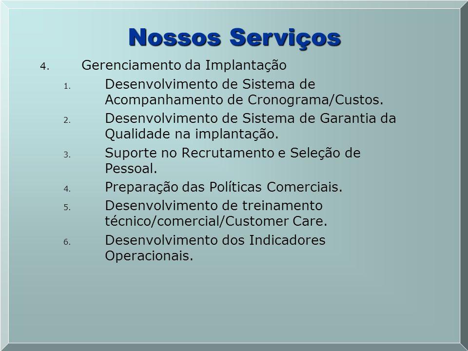 4. 4. Gerenciamento da Implantação 1. 1. Desenvolvimento de Sistema de Acompanhamento de Cronograma/Custos. 2. 2. Desenvolvimento de Sistema de Garant