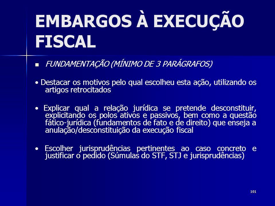 101 EMBARGOS À EXECUÇÃO FISCAL FUNDAMENTAÇÃO (MÍNIMO DE 3 PARÁGRAFOS) Destacar os motivos pelo qual escolheu esta ação, utilizando os artigos retrocit
