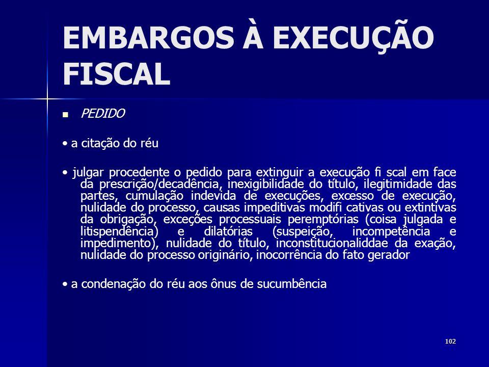 102 EMBARGOS À EXECUÇÃO FISCAL PEDIDO a citação do réu julgar procedente o pedido para extinguir a execução fi scal em face da prescrição/decadência,