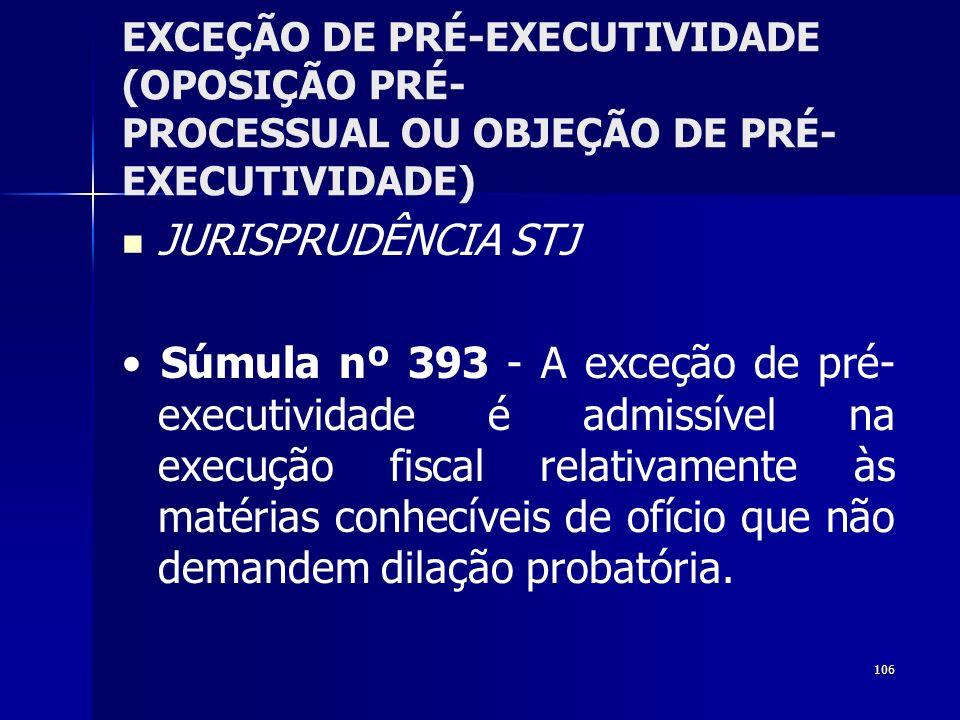 106 EXCEÇÃO DE PRÉ-EXECUTIVIDADE (OPOSIÇÃO PRÉ- PROCESSUAL OU OBJEÇÃO DE PRÉ- EXECUTIVIDADE) JURISPRUDÊNCIA STJ Súmula nº 393 - A exceção de pré- exec