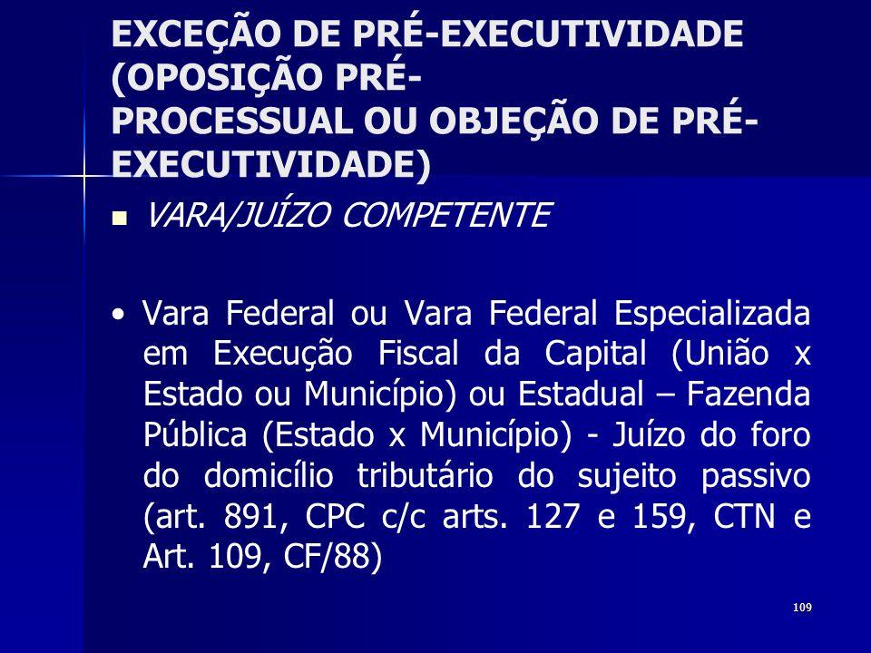 109 EXCEÇÃO DE PRÉ-EXECUTIVIDADE (OPOSIÇÃO PRÉ- PROCESSUAL OU OBJEÇÃO DE PRÉ- EXECUTIVIDADE) VARA/JUÍZO COMPETENTE Vara Federal ou Vara Federal Especi