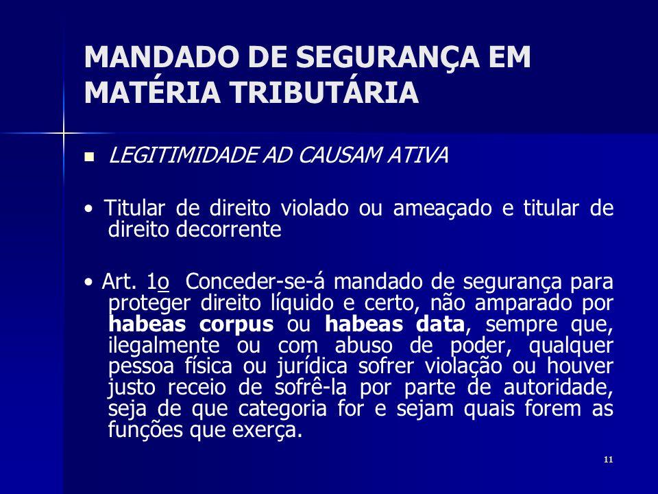 11 MANDADO DE SEGURANÇA EM MATÉRIA TRIBUTÁRIA LEGITIMIDADE AD CAUSAM ATIVA Titular de direito violado ou ameaçado e titular de direito decorrente Art.