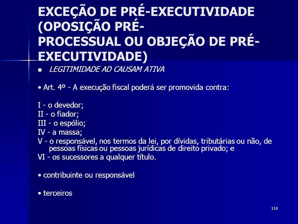 110 EXCEÇÃO DE PRÉ-EXECUTIVIDADE (OPOSIÇÃO PRÉ- PROCESSUAL OU OBJEÇÃO DE PRÉ- EXECUTIVIDADE) LEGITIMIDADE AD CAUSAM ATIVA Art. 4º - A execução fiscal
