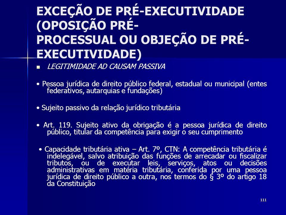 111 EXCEÇÃO DE PRÉ-EXECUTIVIDADE (OPOSIÇÃO PRÉ- PROCESSUAL OU OBJEÇÃO DE PRÉ- EXECUTIVIDADE) LEGITIMIDADE AD CAUSAM PASSIVA Pessoa jurídica de direito