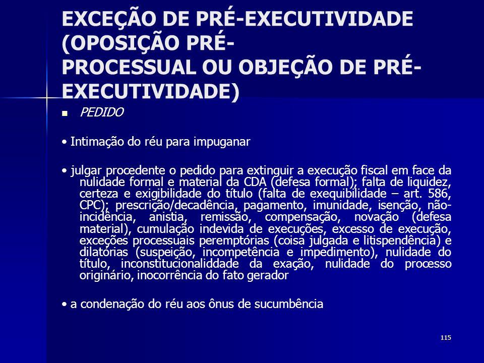 115 EXCEÇÃO DE PRÉ-EXECUTIVIDADE (OPOSIÇÃO PRÉ- PROCESSUAL OU OBJEÇÃO DE PRÉ- EXECUTIVIDADE) PEDIDO Intimação do réu para impuganar julgar procedente
