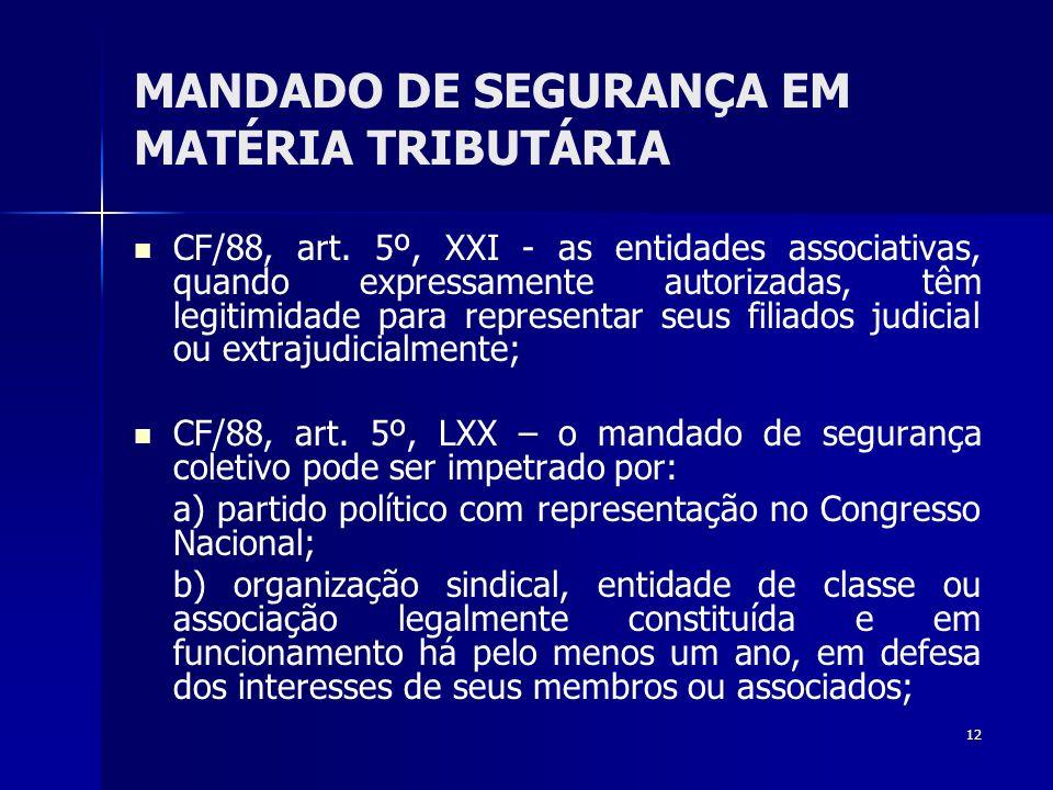 12 MANDADO DE SEGURANÇA EM MATÉRIA TRIBUTÁRIA CF/88, art. 5º, XXI - as entidades associativas, quando expressamente autorizadas, têm legitimidade para