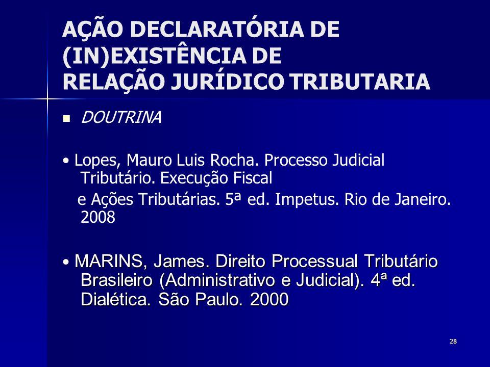 28 AÇÃO DECLARATÓRIA DE (IN)EXISTÊNCIA DE RELAÇÃO JURÍDICO TRIBUTARIA DOUTRINA Lopes, Mauro Luis Rocha. Processo Judicial Tributário. Execução Fiscal