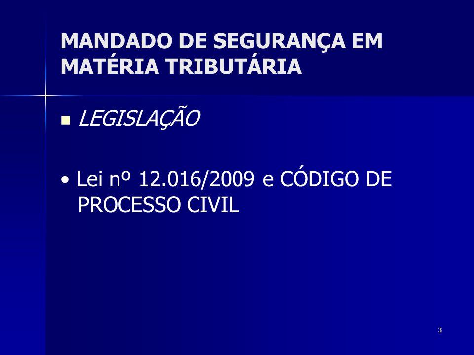 3 MANDADO DE SEGURANÇA EM MATÉRIA TRIBUTÁRIA LEGISLAÇÃO Lei nº 12.016/2009 e CÓDIGO DE PROCESSO CIVIL