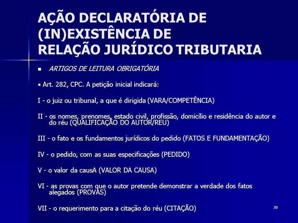 30 AÇÃO DECLARATÓRIA DE (IN)EXISTÊNCIA DE RELAÇÃO JURÍDICO TRIBUTARIA ARTIGOS DE LEITURA OBRIGATÓRIA Art. 282, CPC. A petição inicial indicará: I - o