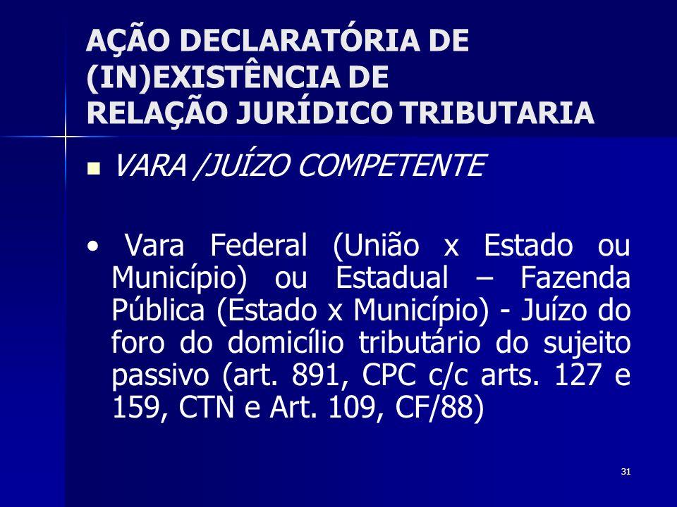 31 AÇÃO DECLARATÓRIA DE (IN)EXISTÊNCIA DE RELAÇÃO JURÍDICO TRIBUTARIA VARA /JUÍZO COMPETENTE Vara Federal (União x Estado ou Município) ou Estadual –