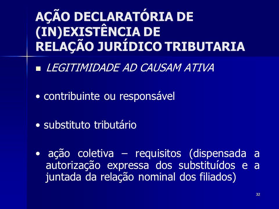 32 AÇÃO DECLARATÓRIA DE (IN)EXISTÊNCIA DE RELAÇÃO JURÍDICO TRIBUTARIA LEGITIMIDADE AD CAUSAM ATIVA contribuinte ou responsável substituto tributário a