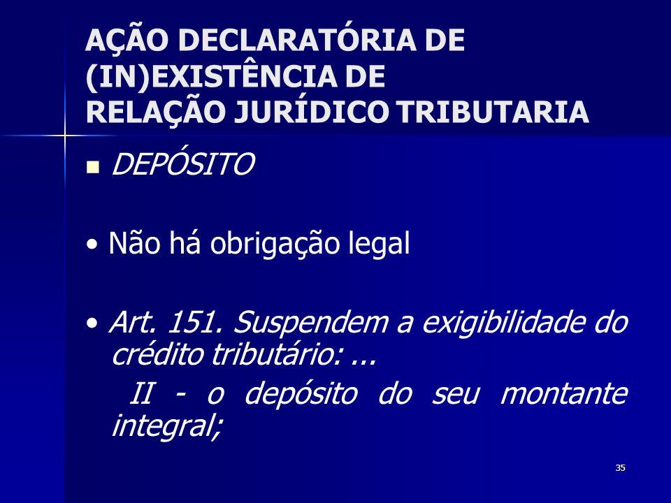 35 AÇÃO DECLARATÓRIA DE (IN)EXISTÊNCIA DE RELAÇÃO JURÍDICO TRIBUTARIA DEPÓSITO Não há obrigação legal Art. 151. Suspendem a exigibilidade do crédito t