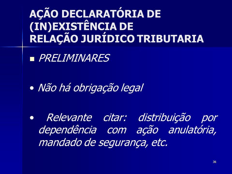 36 AÇÃO DECLARATÓRIA DE (IN)EXISTÊNCIA DE RELAÇÃO JURÍDICO TRIBUTARIA PRELIMINARES Não há obrigação legal Relevante citar: distribuição por dependênci