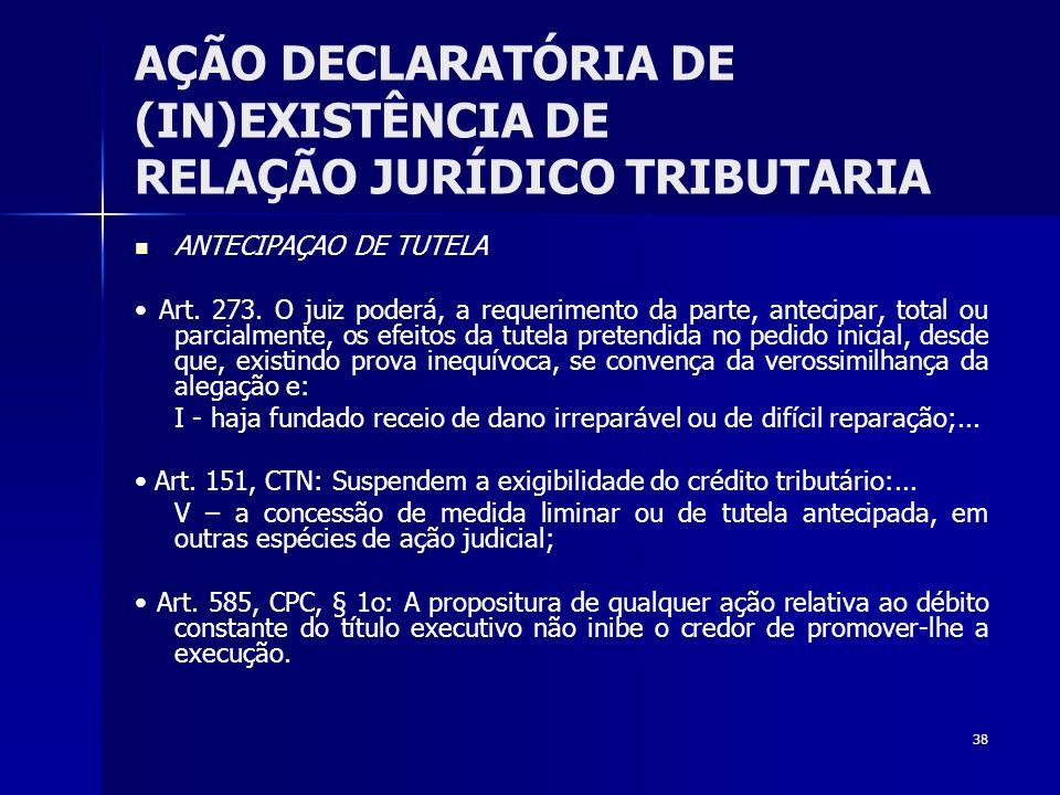 38 AÇÃO DECLARATÓRIA DE (IN)EXISTÊNCIA DE RELAÇÃO JURÍDICO TRIBUTARIA ANTECIPAÇAO DE TUTELA Art. 273. O juiz poderá, a requerimento da parte, antecipa