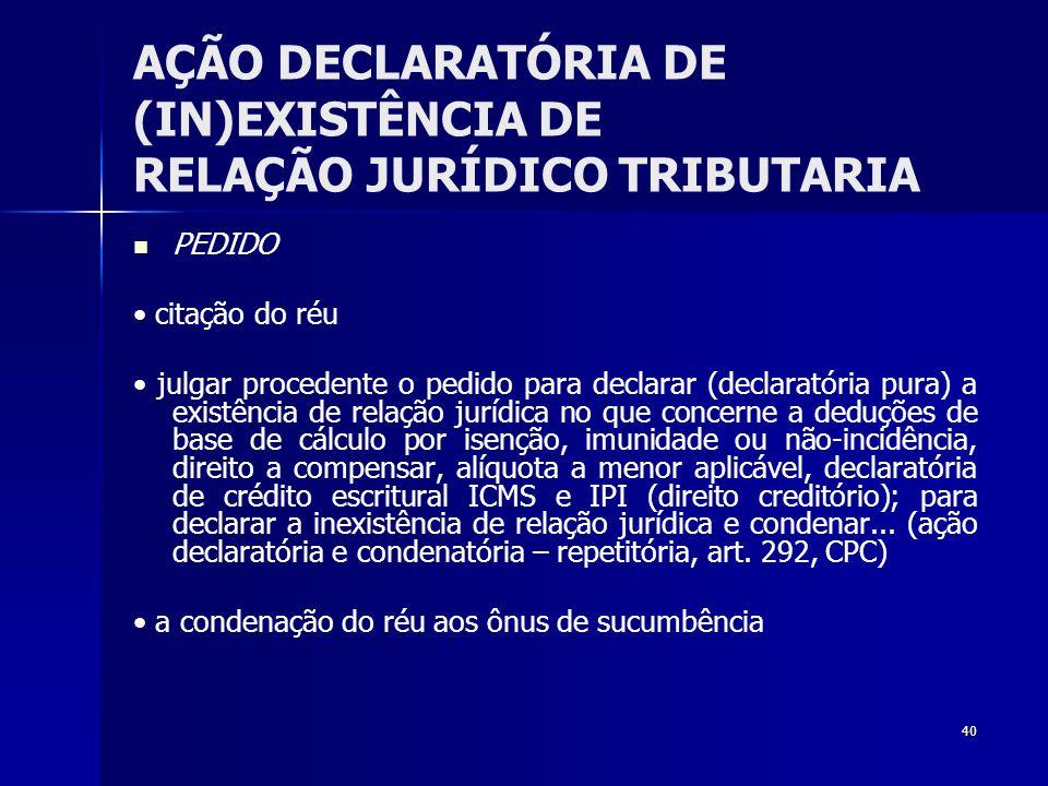 40 AÇÃO DECLARATÓRIA DE (IN)EXISTÊNCIA DE RELAÇÃO JURÍDICO TRIBUTARIA PEDIDO citação do réu julgar procedente o pedido para declarar (declaratória pur