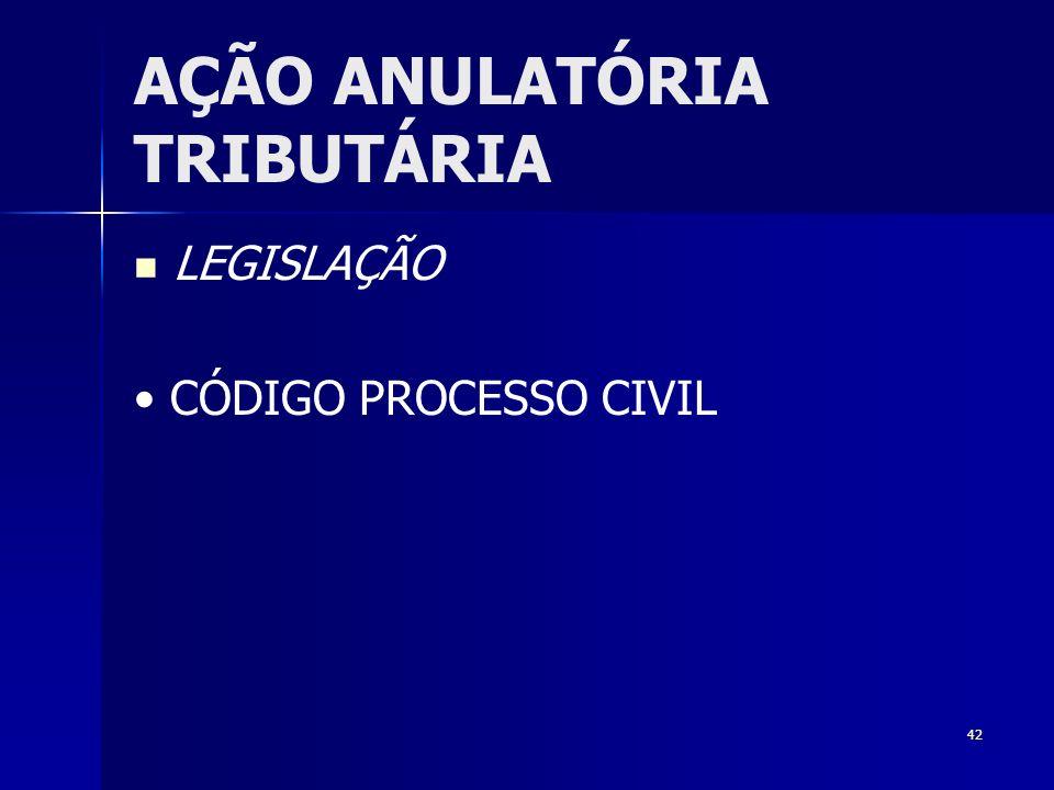 42 AÇÃO ANULATÓRIA TRIBUTÁRIA LEGISLAÇÃO CÓDIGO PROCESSO CIVIL