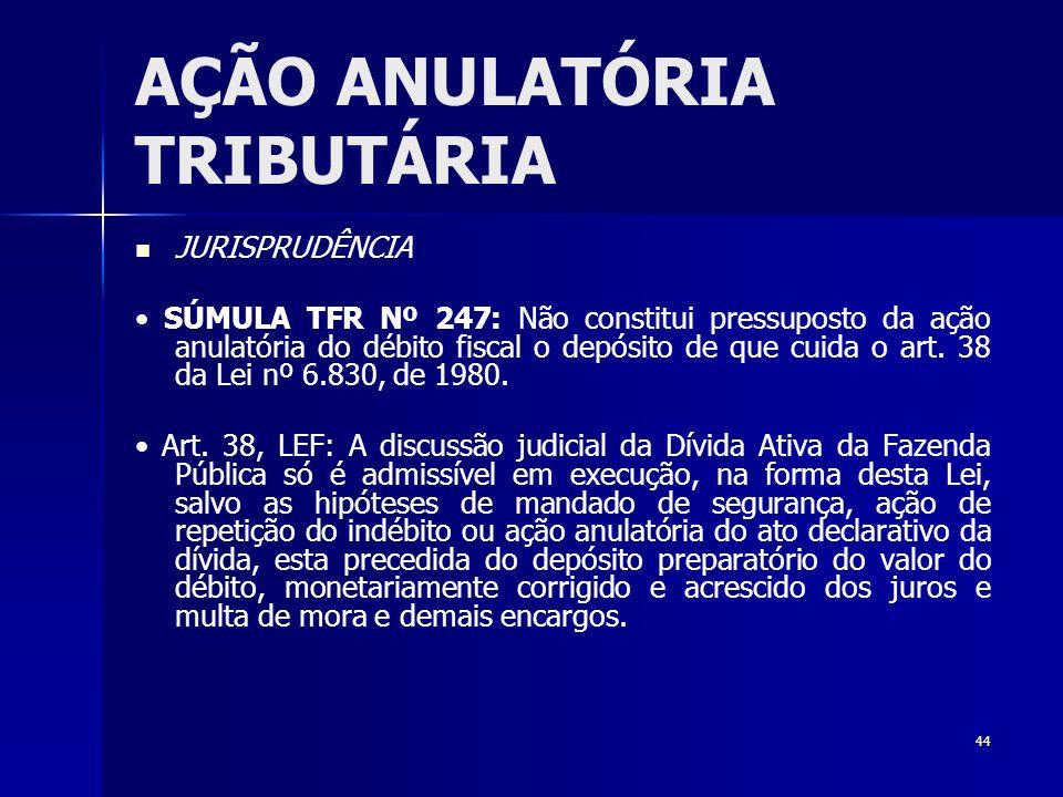 44 AÇÃO ANULATÓRIA TRIBUTÁRIA JURISPRUDÊNCIA SÚMULA TFR Nº 247: Não constitui pressuposto da ação anulatória do débito fiscal o depósito de que cuida