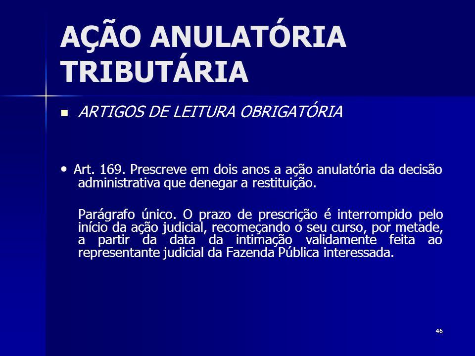 46 AÇÃO ANULATÓRIA TRIBUTÁRIA ARTIGOS DE LEITURA OBRIGATÓRIA Art. 169. Prescreve em dois anos a ação anulatória da decisão administrativa que denegar