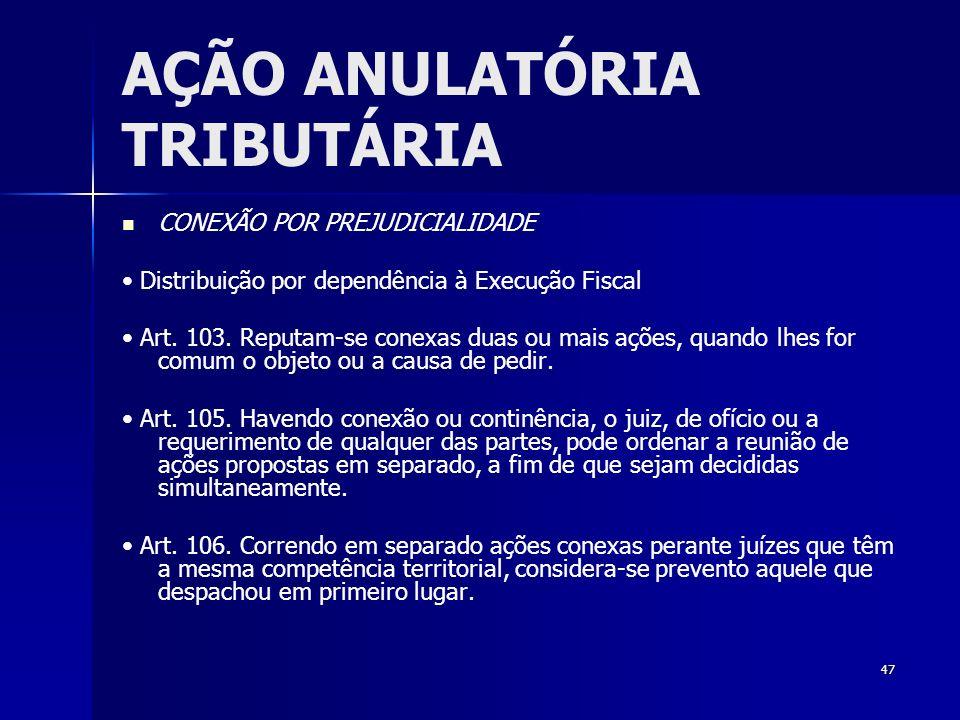 47 AÇÃO ANULATÓRIA TRIBUTÁRIA CONEXÃO POR PREJUDICIALIDADE Distribuição por dependência à Execução Fiscal Art. 103. Reputam-se conexas duas ou mais aç