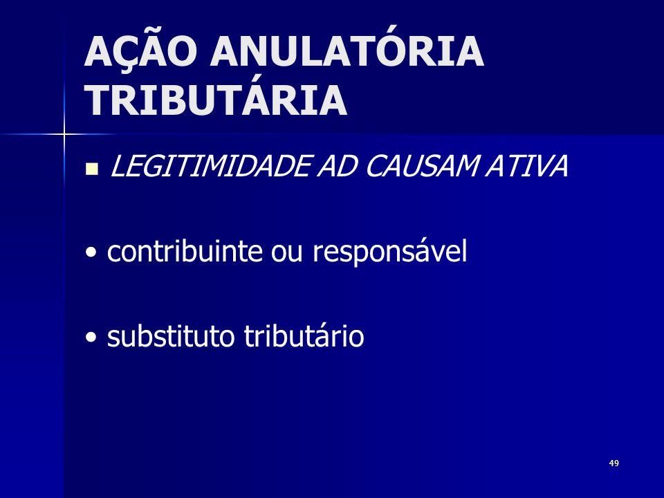 49 AÇÃO ANULATÓRIA TRIBUTÁRIA LEGITIMIDADE AD CAUSAM ATIVA contribuinte ou responsável substituto tributário