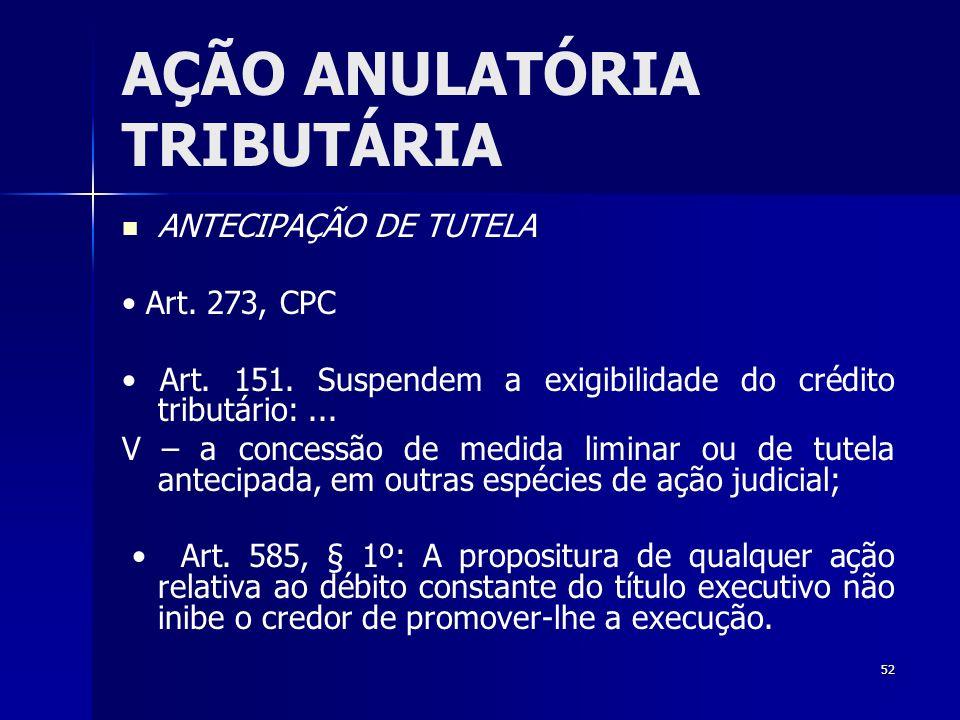 52 AÇÃO ANULATÓRIA TRIBUTÁRIA ANTECIPAÇÃO DE TUTELA Art. 273, CPC Art. 151. Suspendem a exigibilidade do crédito tributário:... V – a concessão de med