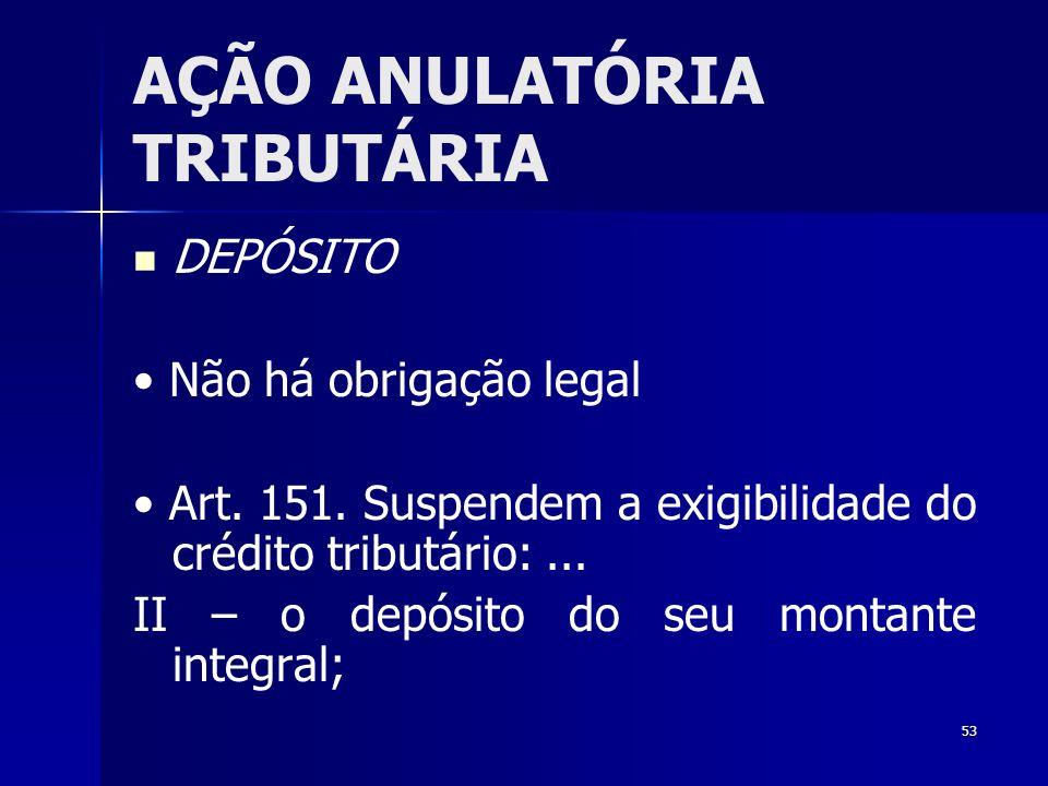 53 AÇÃO ANULATÓRIA TRIBUTÁRIA DEPÓSITO Não há obrigação legal Art. 151. Suspendem a exigibilidade do crédito tributário:... II – o depósito do seu mon