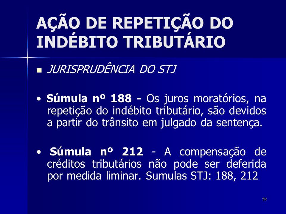 59 AÇÃO DE REPETIÇÃO DO INDÉBITO TRIBUTÁRIO JURISPRUDÊNCIA DO STJ Súmula nº 188 - Os juros moratórios, na repetição do indébito tributário, são devido