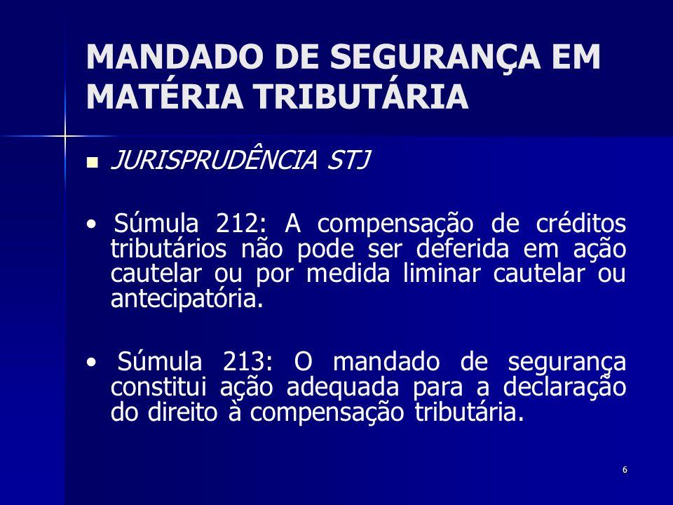 6 MANDADO DE SEGURANÇA EM MATÉRIA TRIBUTÁRIA JURISPRUDÊNCIA STJ Súmula 212: A compensação de créditos tributários não pode ser deferida em ação cautel