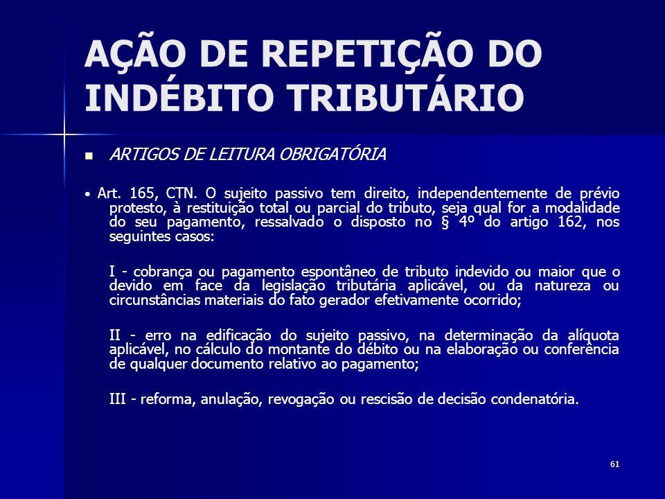 61 AÇÃO DE REPETIÇÃO DO INDÉBITO TRIBUTÁRIO ARTIGOS DE LEITURA OBRIGATÓRIA Art. 165, CTN. O sujeito passivo tem direito, independentemente de prévio p
