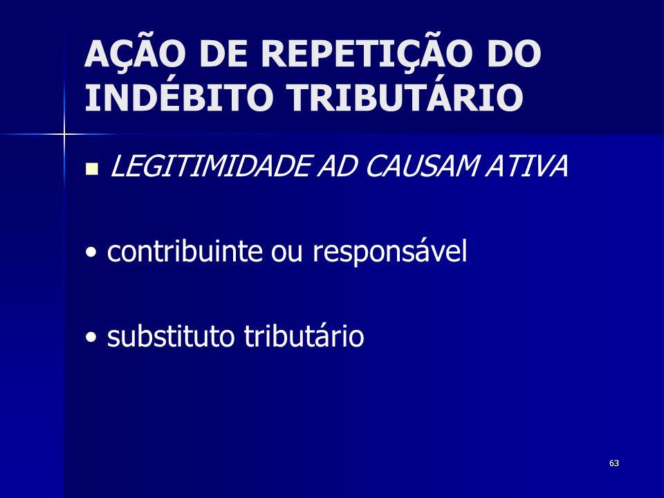 63 AÇÃO DE REPETIÇÃO DO INDÉBITO TRIBUTÁRIO LEGITIMIDADE AD CAUSAM ATIVA contribuinte ou responsável substituto tributário