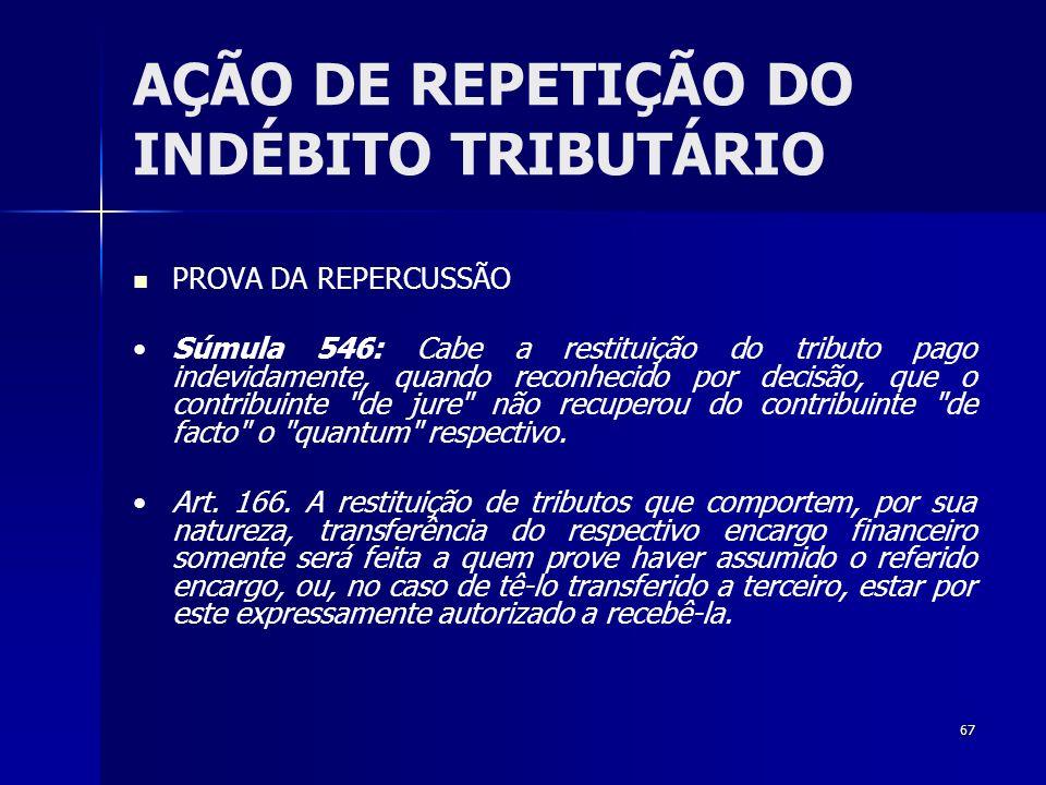 67 AÇÃO DE REPETIÇÃO DO INDÉBITO TRIBUTÁRIO PROVA DA REPERCUSSÃO Súmula 546: Cabe a restituição do tributo pago indevidamente, quando reconhecido por