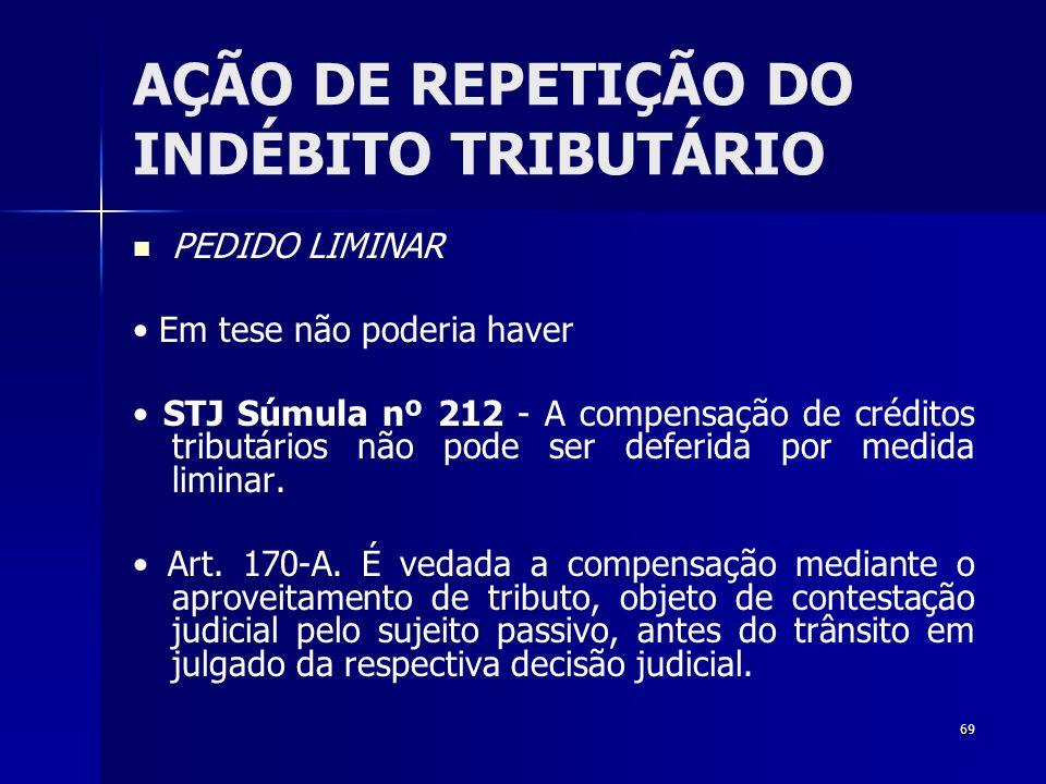 69 AÇÃO DE REPETIÇÃO DO INDÉBITO TRIBUTÁRIO PEDIDO LIMINAR Em tese não poderia haver STJ Súmula nº 212 - A compensação de créditos tributários não pod
