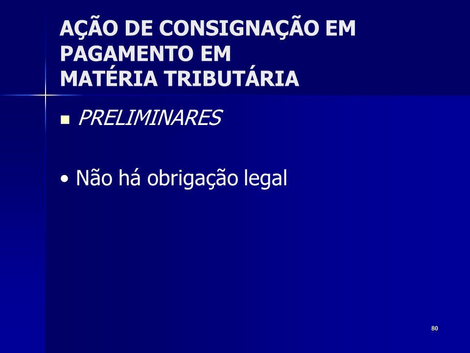 80 AÇÃO DE CONSIGNAÇÃO EM PAGAMENTO EM MATÉRIA TRIBUTÁRIA PRELIMINARES Não há obrigação legal