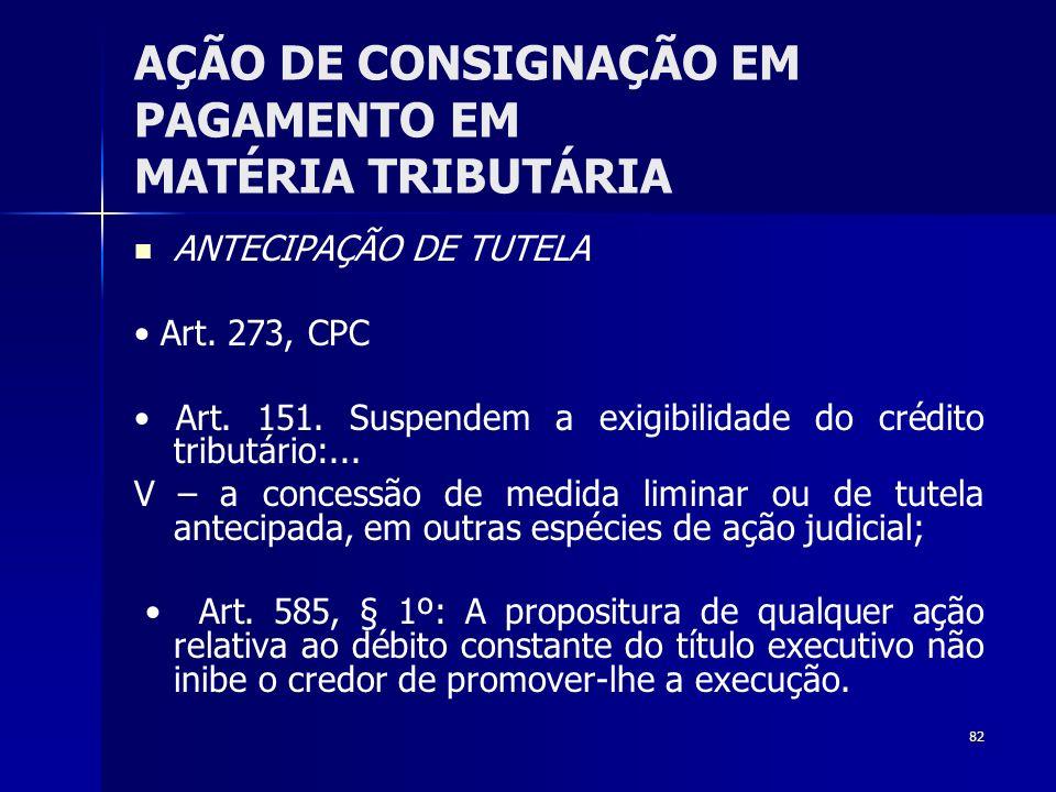 82 AÇÃO DE CONSIGNAÇÃO EM PAGAMENTO EM MATÉRIA TRIBUTÁRIA ANTECIPAÇÃO DE TUTELA Art. 273, CPC Art. 151. Suspendem a exigibilidade do crédito tributári