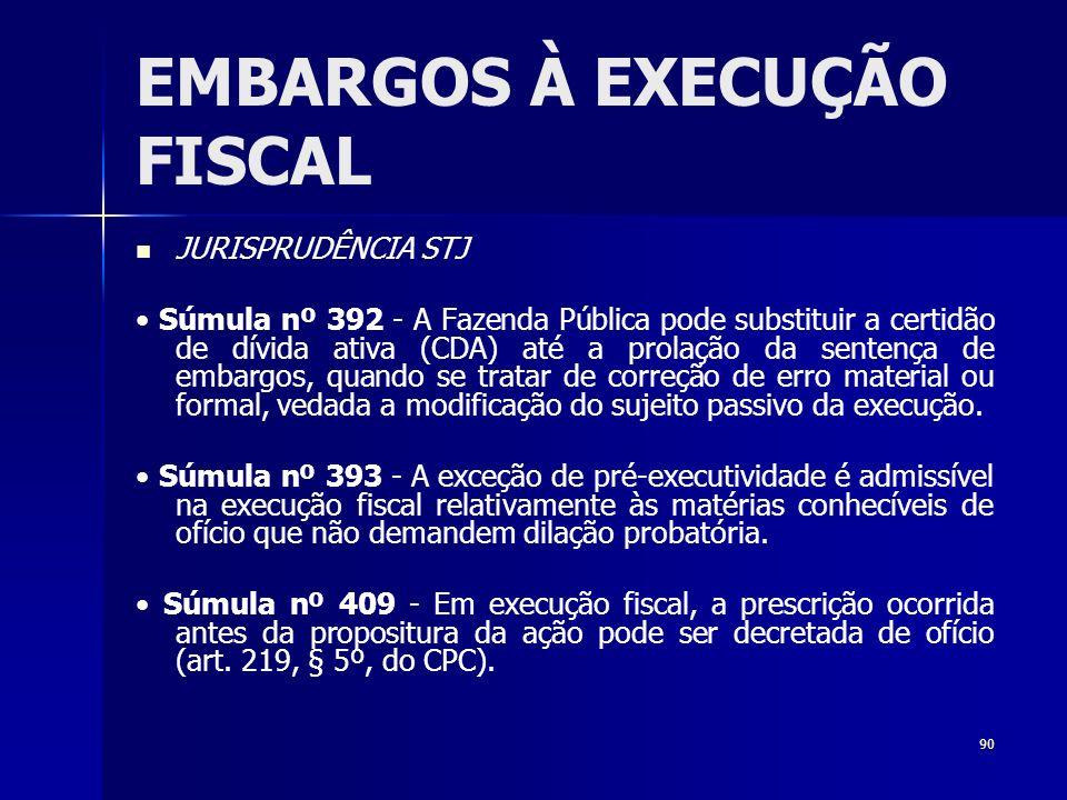 90 EMBARGOS À EXECUÇÃO FISCAL JURISPRUDÊNCIA STJ Súmula nº 392 - A Fazenda Pública pode substituir a certidão de dívida ativa (CDA) até a prolação da