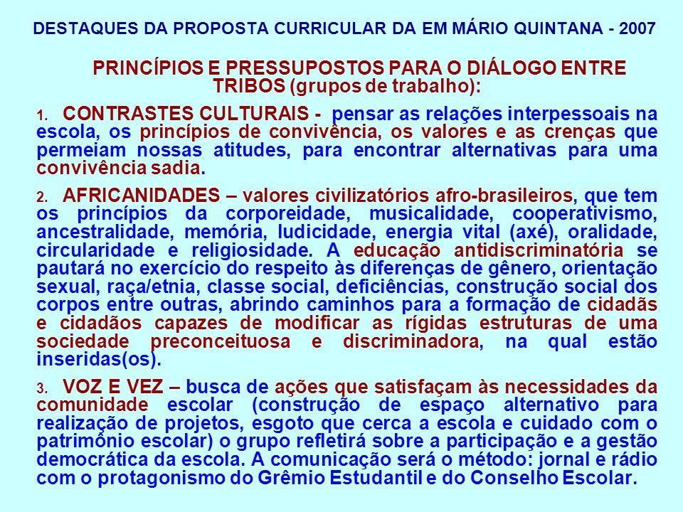 DESTAQUES DA PROPOSTA CURRICULAR DA EM MÁRIO QUINTANA - 2007 4.