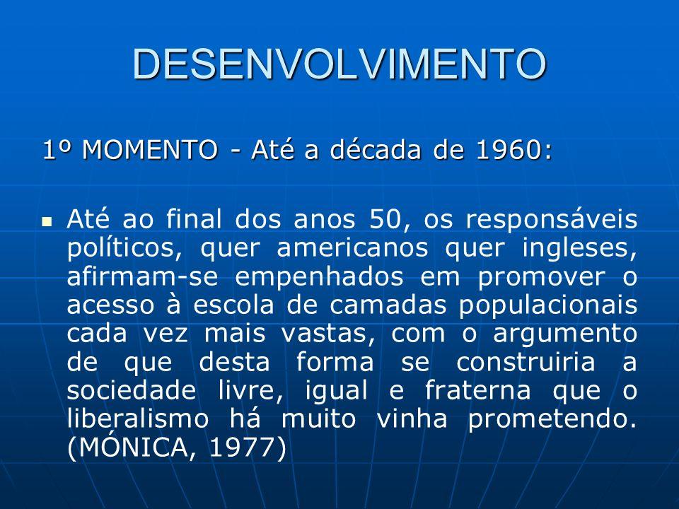 DESENVOLVIMENTO 1º MOMENTO - Até a década de 1960: Até ao final dos anos 50, os responsáveis políticos, quer americanos quer ingleses, afirmam-se empe