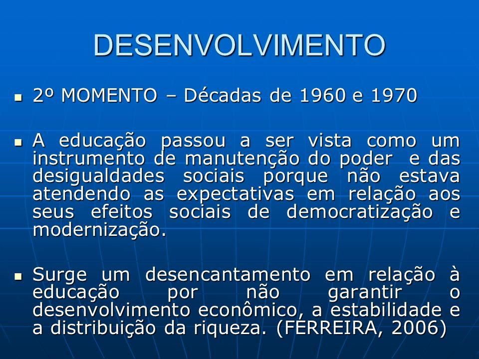 DESENVOLVIMENTO 2º MOMENTO – Décadas de 1960 e 1970 2º MOMENTO – Décadas de 1960 e 1970 A educação passou a ser vista como um instrumento de manutençã