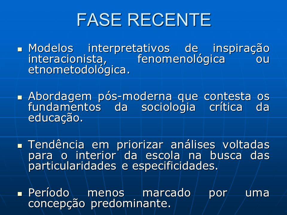 FASE RECENTE Modelos interpretativos de inspiração interacionista, fenomenológica ou etnometodológica. Modelos interpretativos de inspiração interacio