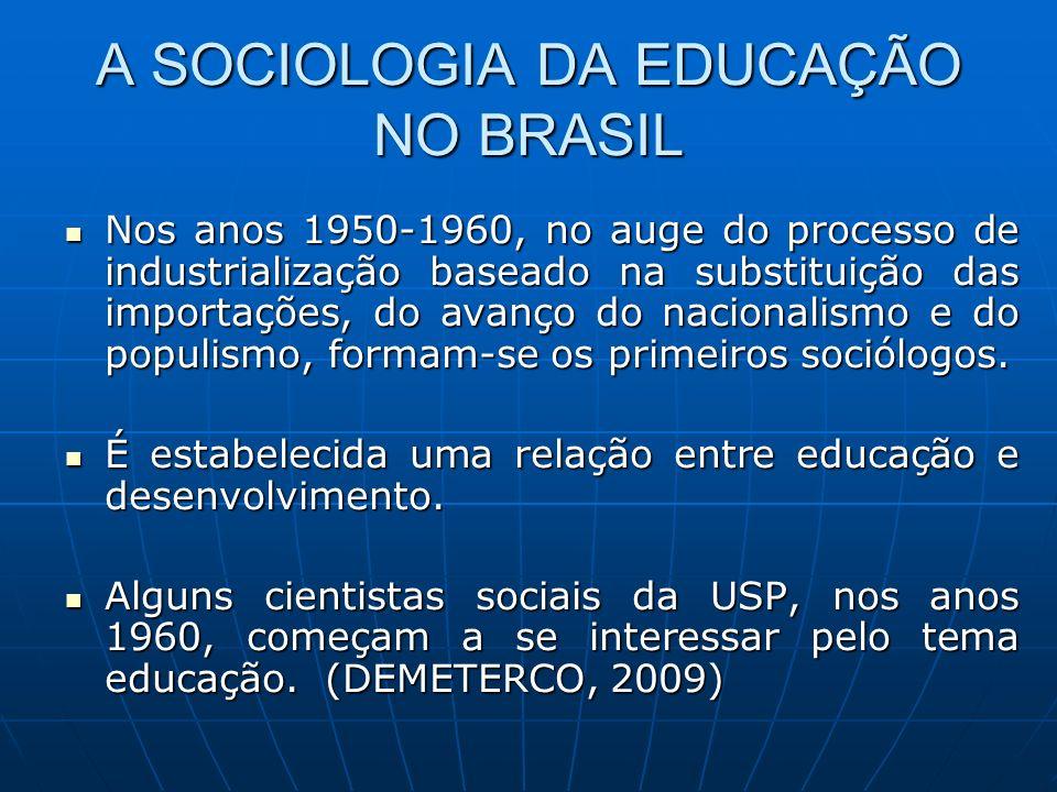 A SOCIOLOGIA DA EDUCAÇÃO NO BRASIL Nos anos 1950-1960, no auge do processo de industrialização baseado na substituição das importações, do avanço do n