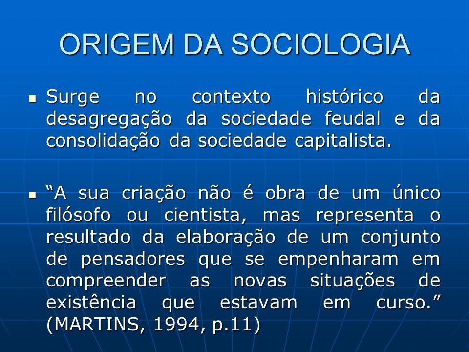 ORIGEM DA SOCIOLOGIA Surge no contexto histórico da desagregação da sociedade feudal e da consolidação da sociedade capitalista. Surge no contexto his