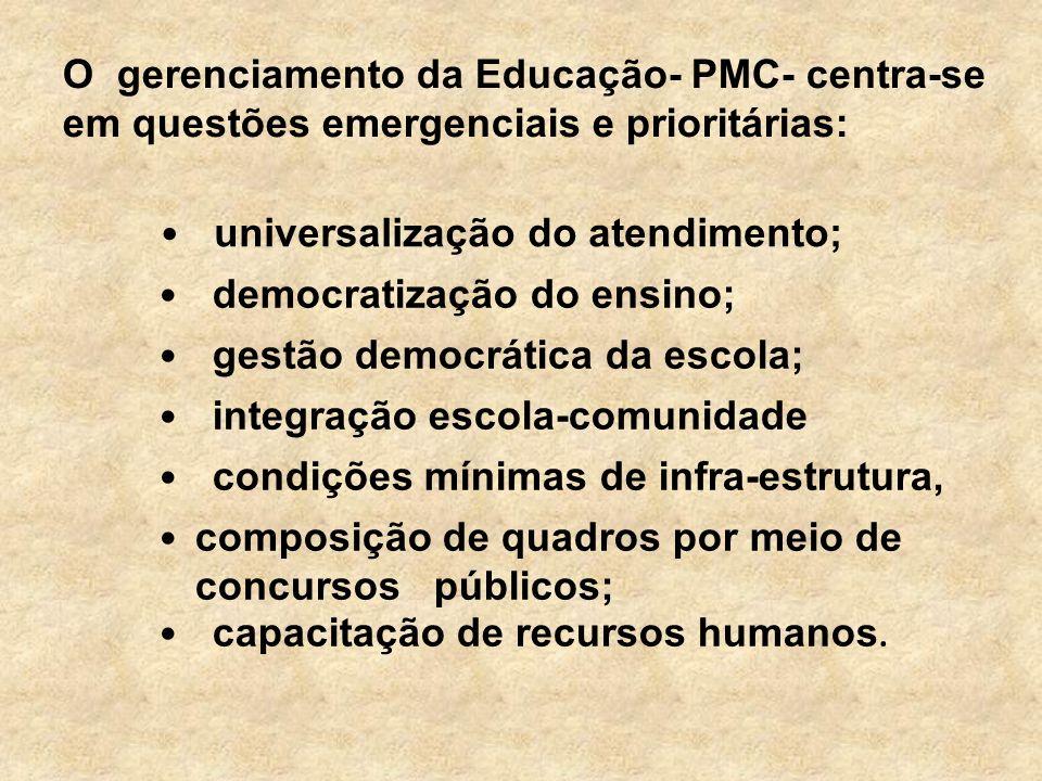 O gerenciamento da Educação- PMC- centra-se em questões emergenciais e prioritárias: universalização do atendimento; democratização do ensino; gestão