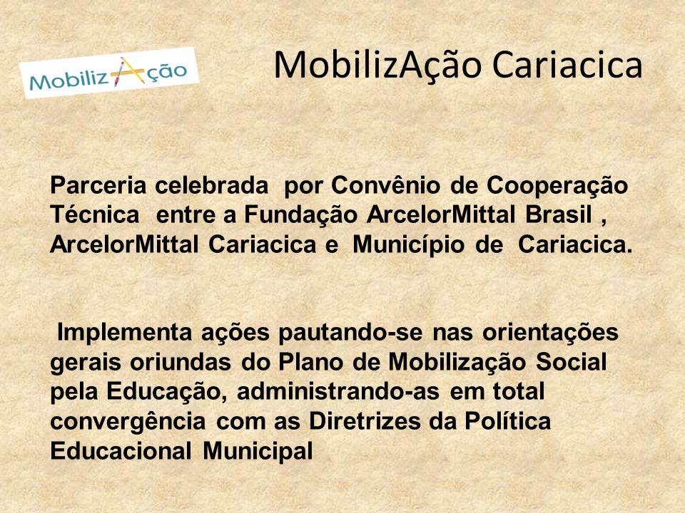 MobilizAção Cariacica Parceria celebrada por Convênio de Cooperação Técnica entre a Fundação ArcelorMittal Brasil, ArcelorMittal Cariacica e Município