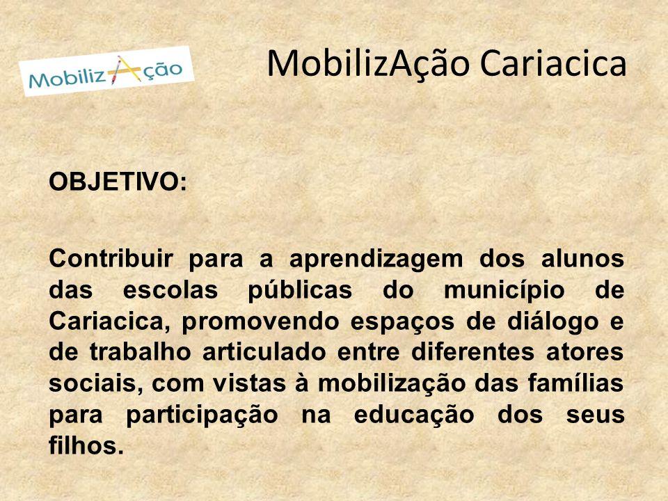 MobilizAção Cariacica OBJETIVO: Contribuir para a aprendizagem dos alunos das escolas públicas do município de Cariacica, promovendo espaços de diálog