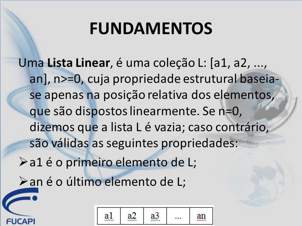 Característica fundamental de uma lista linear é o sentido de ordem unidimensional dos elementos que a compõem.