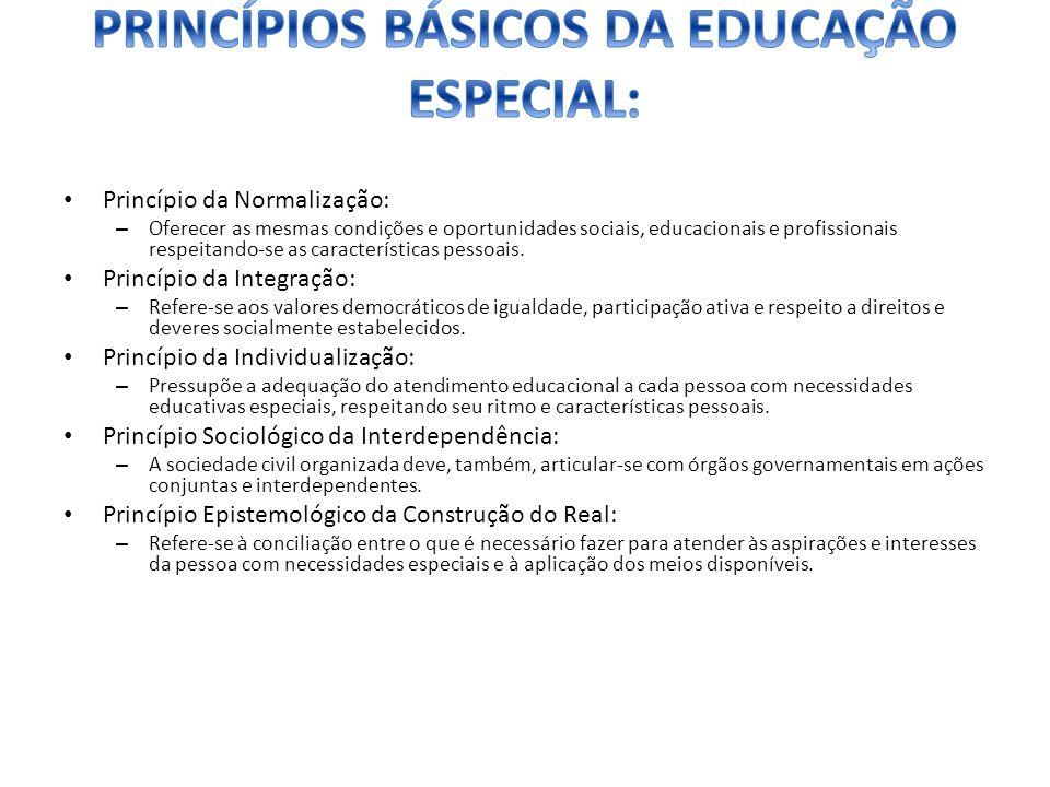 Princípio da Normalização: – Oferecer as mesmas condições e oportunidades sociais, educacionais e profissionais respeitando-se as características pess