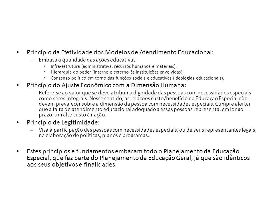 Princípio da Efetividade dos Modelos de Atendimento Educacional: – Embasa a qualidade das ações educativas Infra-estrutura (administrativa, recursos h